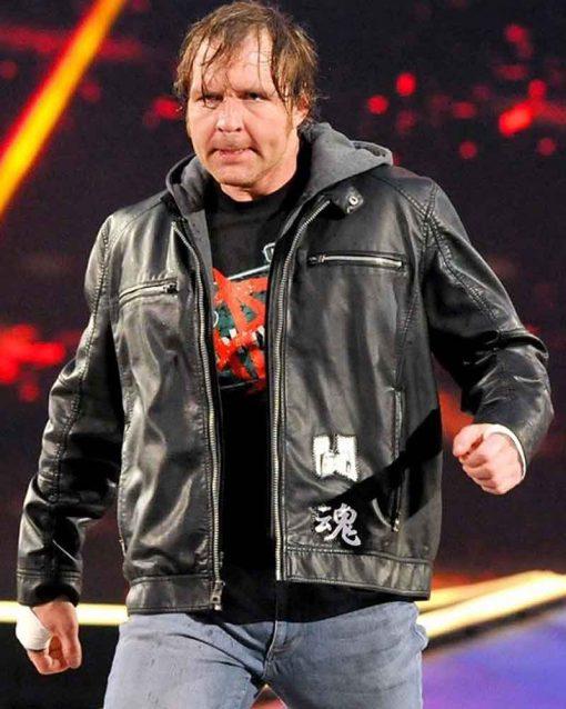 WWE Wrestler Black Dean Ambrose Leather Jacket