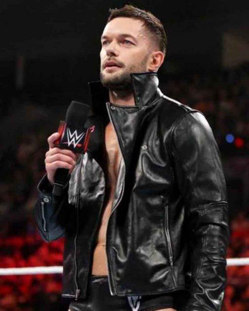 WWE Black Leather Superstar Finn Balor Motorcycle Jacket