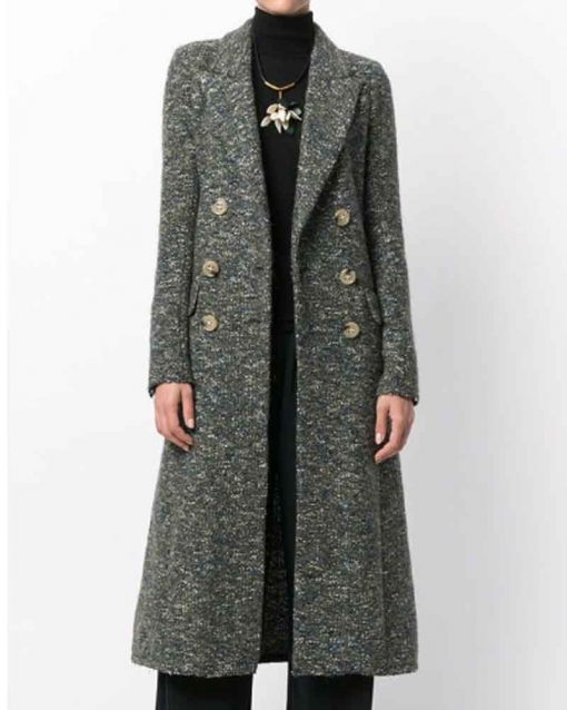 You S02 Elizabeth Lail Grey Trench Guinevere Beck Coat