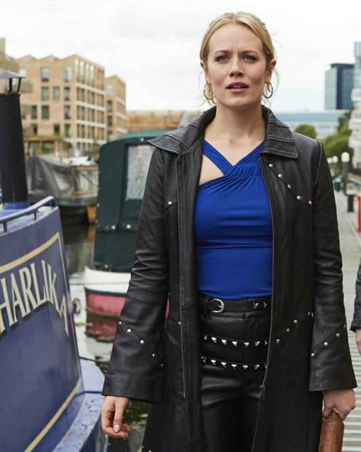 Cara Theobold Black Trench TV Series Zomboat Jo Leather Coat