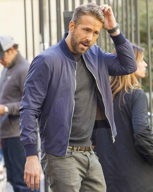 Blue Cotton 6 Underground Ryan Reynolds One Bomber Jacket