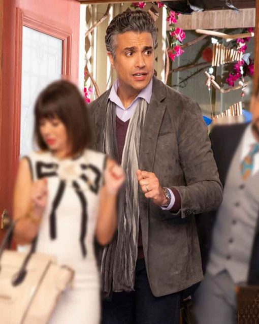 Jaime Camil Suede Leather TV Series Broke Javier Blazer Jacket