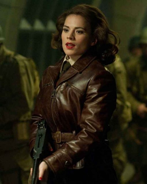 Captain America Hayley Atwell Peggy Carter Leather Jacket