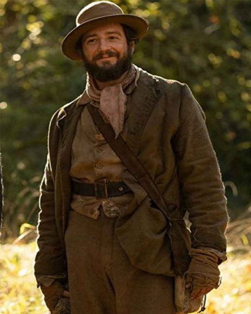 First Cow John Magaro Brown Leather Cookie Figowitz Coat