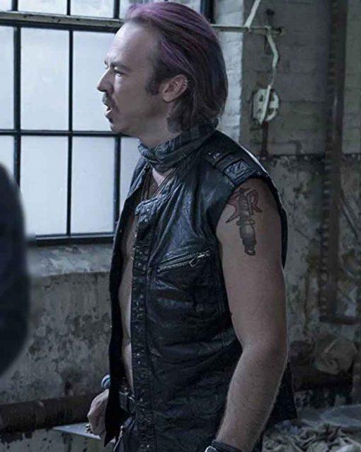 Kick Gurry Black Leather TV Series Sense8 Puck Vest