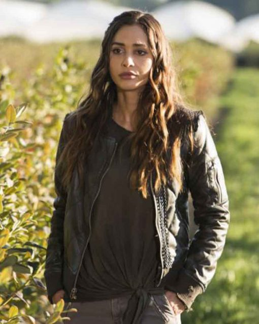 The 100 Lindsey Morgan Raven Reyes Leather Jacket