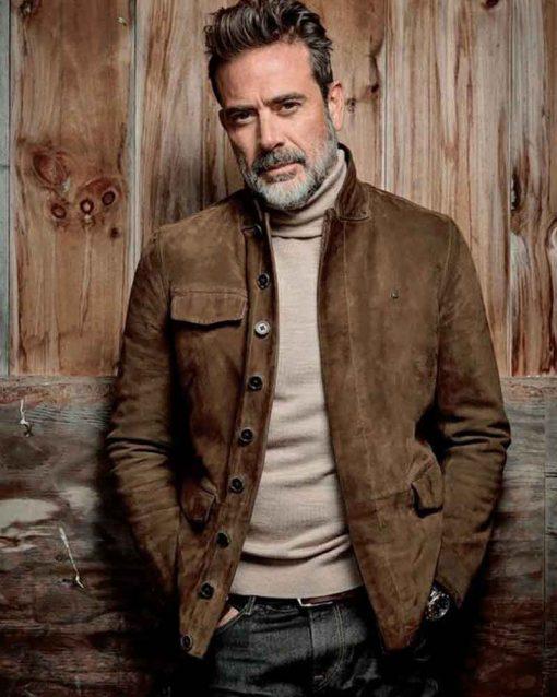 The Walking Dead Suede Leather Jeffrey Dean Morgan Jacket