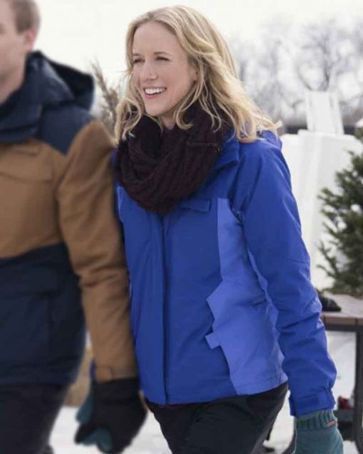 Jessy Schram Blue Hooded Amazing Winter Romance Julia Miller Jacket