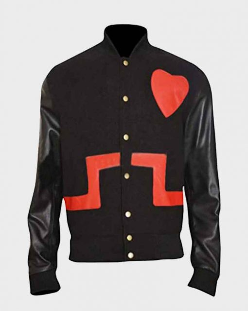 Black and Red Chris Brown Bomber Heart Jacket
