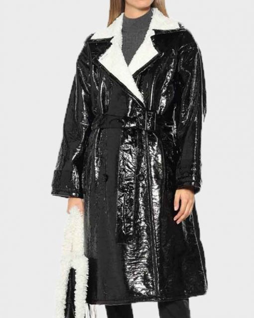 Elaine Hendrix Black Leather Dynasty S03 Alexis Carrington Coat