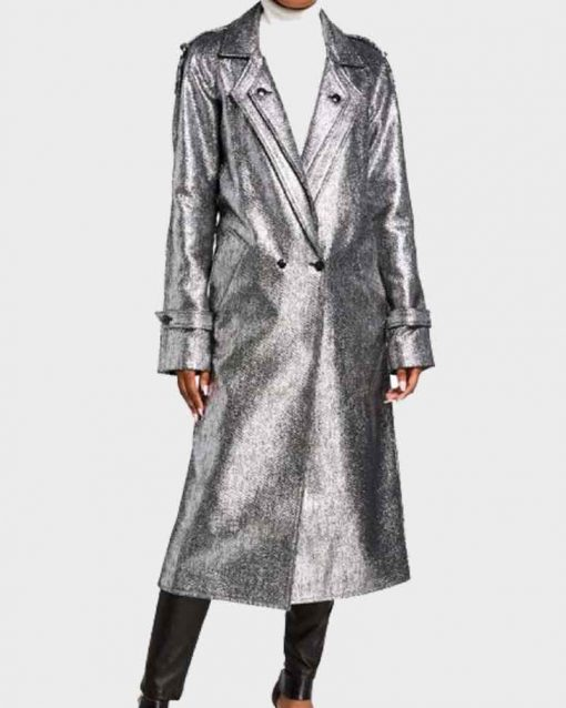 Elizabeth Gillies Trench Dynasty S03 Fallon Carrington Silver Coat