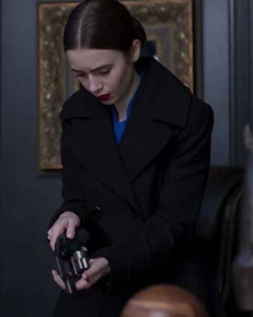 Lily Collins Black Trench Wool-Blend Inheritance Lauren Monroe Coat