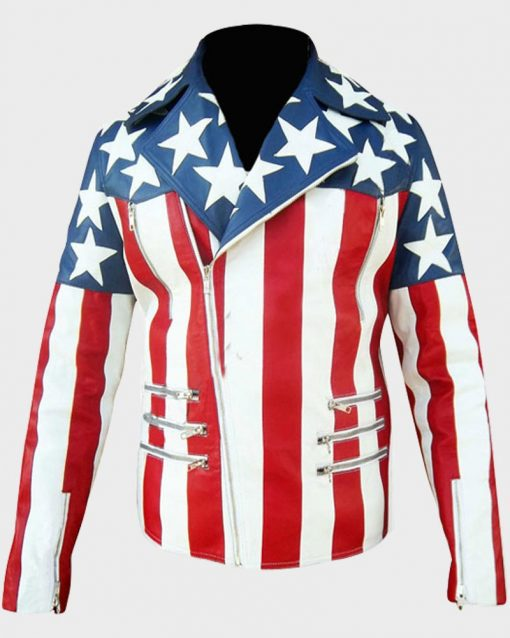 American Mens White US Flag Leather Jacket