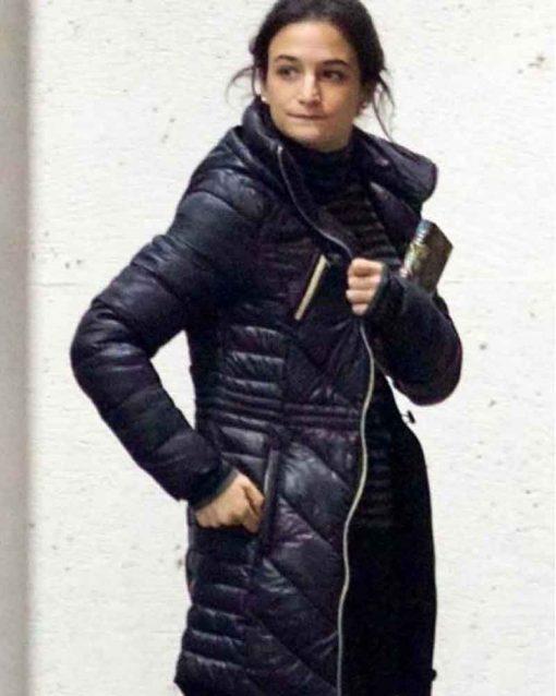 Jenny Slate Black Puffer Parachute Venom Dr. Dora Skirth Coat
