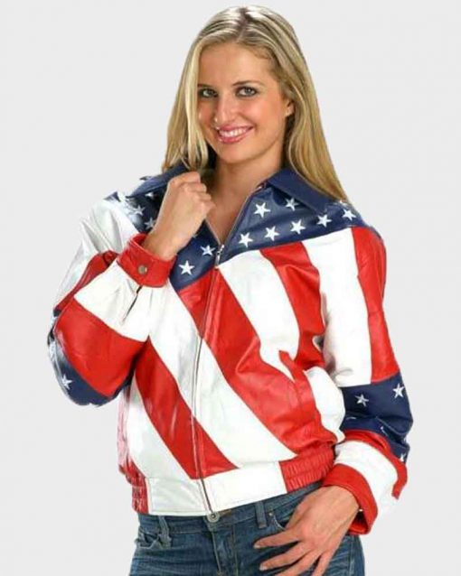 Bikers Style Leather Womens American Flag Jacket
