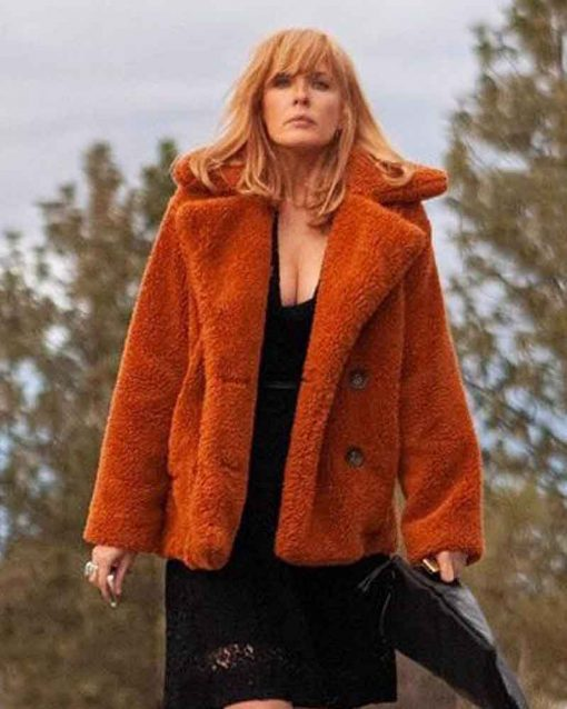 Kelly Reilly Orange Yellowstone Beth Dutton Fur Coat