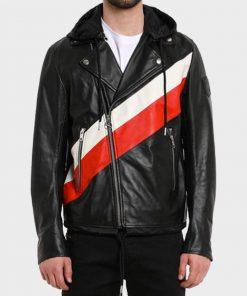 Zach Dempsey Black Leather Hooded Jacket
