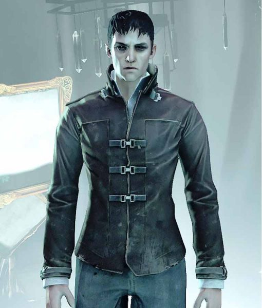Brown Suede Leather Dishonored Death Of Outsider Jacket