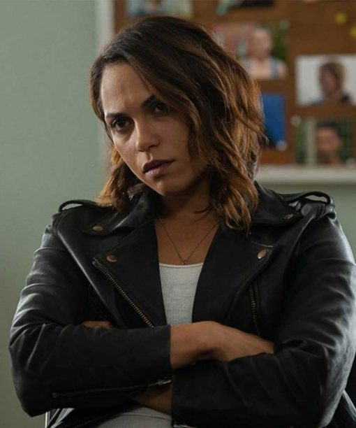 Monica Raymund Leather Hightown Jackie Quiñones Motorcycle Jacket