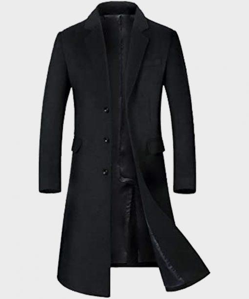Mens Winter Black Gentlemen Style Trench Coat