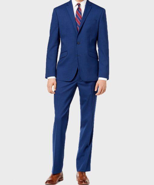 Gentlemen Style Mens Classic Blue Wool Suit