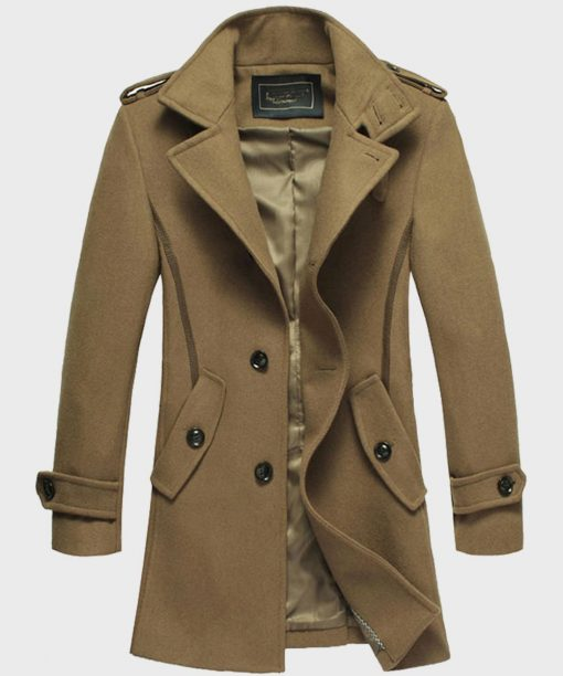 Men's Fashion Style Brown Mid-Length Wool Coat