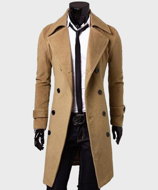 Mens Fashion Double-Breasted Brown Trench Coat