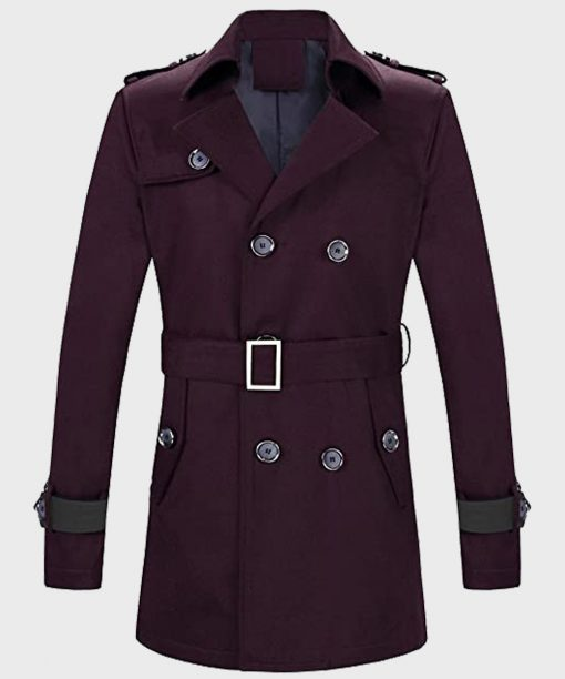 Mens Double-Breasted Maroon Wool Coat with Belt