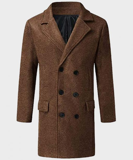 Mens Double Breasted Brown Mid-Length Coat