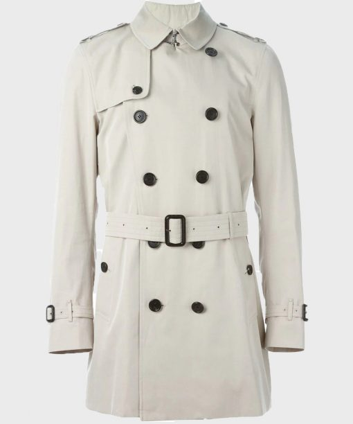 Burberry White Belted Double Breasted Coat for Mens