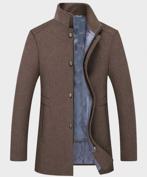 Mens Casual Grey Wool Coat