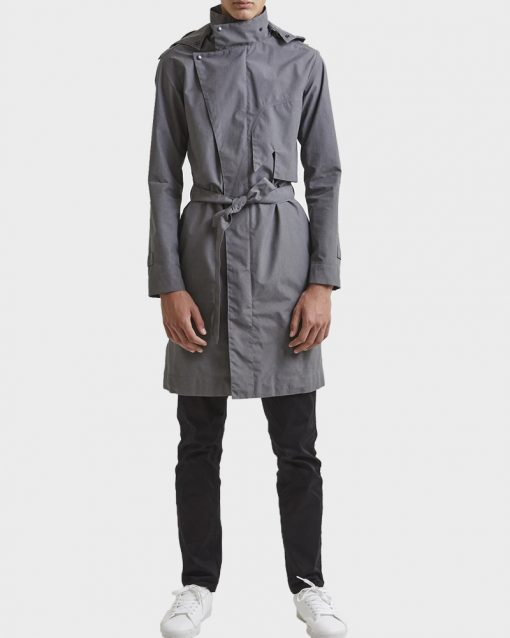 Grey Hooded Raincoat for Mens