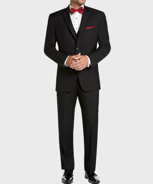 Vintage Two Button Mens Black Notch Lapel Suit