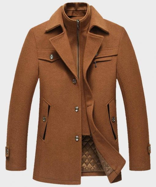 Fashion Style Mens Brown Wool Coat