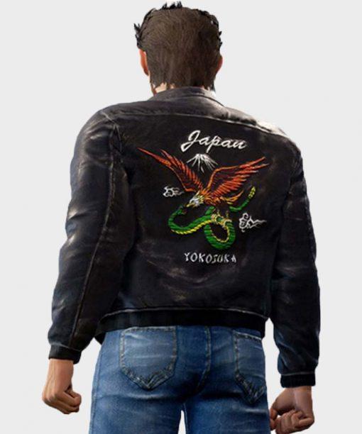 Shenmue 3 Backer Black Leather Bomber Jacket