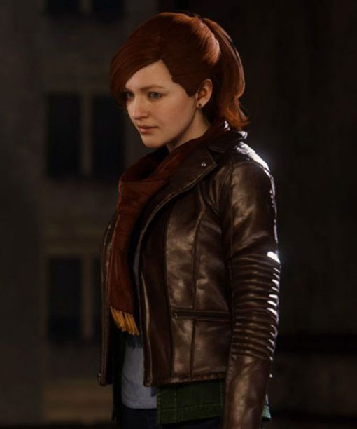 Spiderman PS4 Watson Brown Mary Jane Leather Jacket