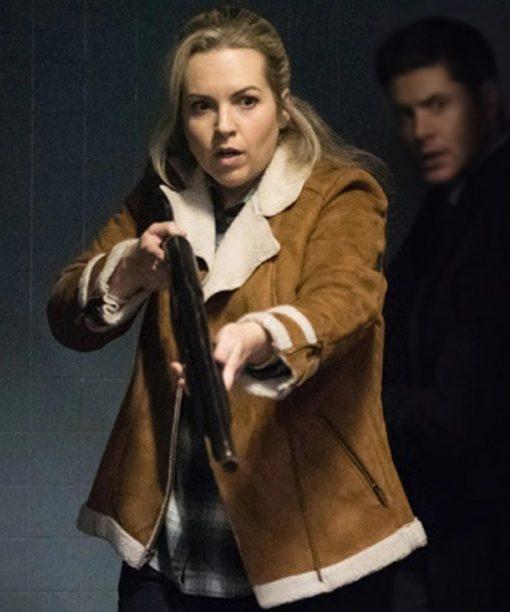 Supernatural Donna Hanscum Brown Suede Shearling Jacket