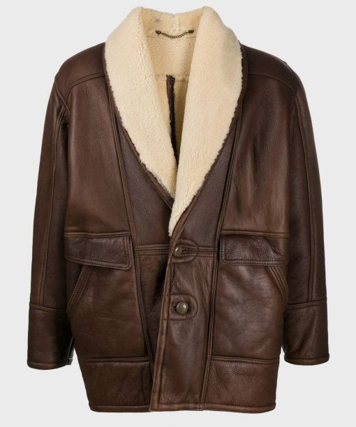 Vintage Leather Shearling Collar Jacket