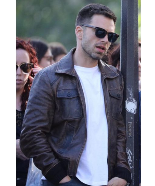 355 Sebastian Stan Brown Leather Jacket