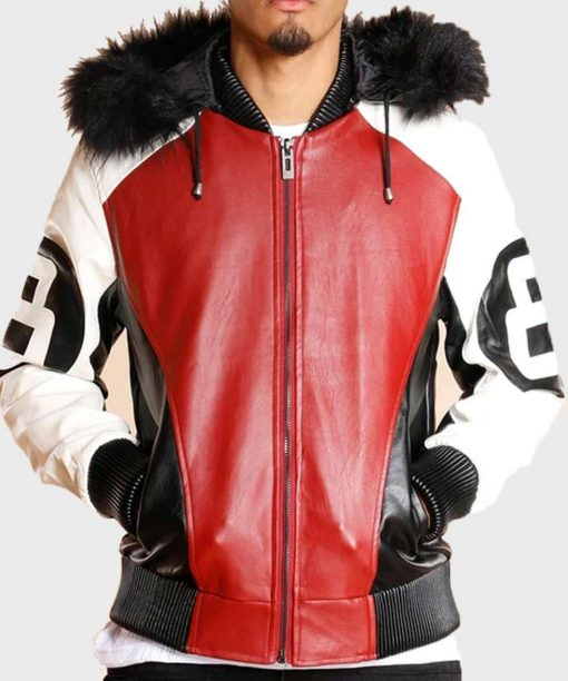 8 Ball Logo Fur Leather Jacket
