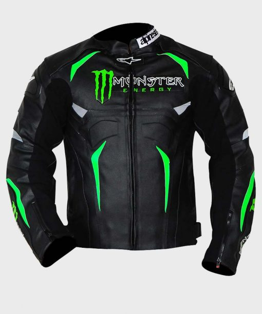 Alpinestars Hellhound Monster Energy Black Leather Motorcycle Jacket