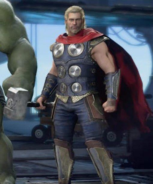 Avengers Video Game Thor Black Leather Vest