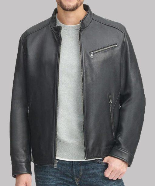 Mens Casual Black Genuine Leather Jacket
