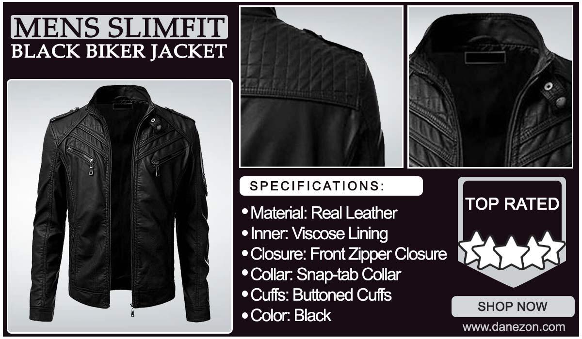 Men's Black Biker Slim Fit Leather Jacket