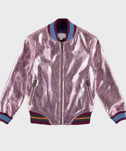 Coop and Cami Ask The World Cameron Wrather Pink Metallic Leather Jacket