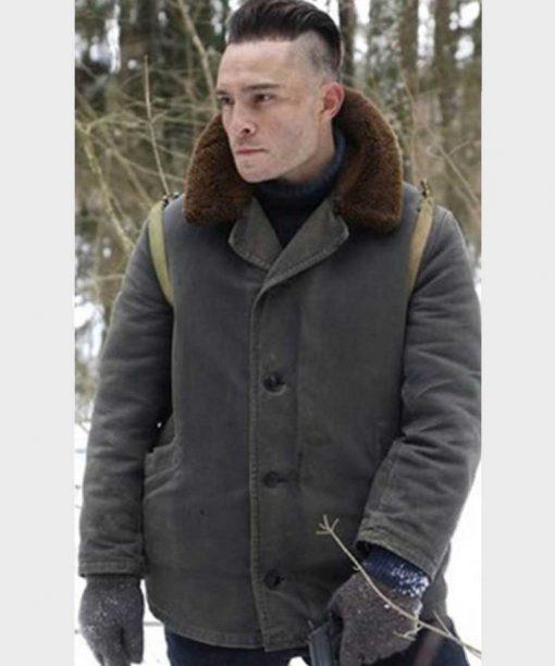 Ed Westwick Enemy Lines Kaminski Shearling Jacket