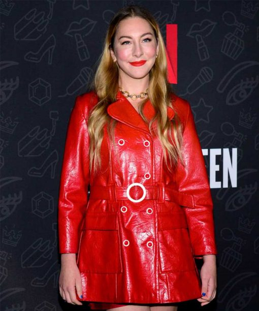 AJ And The Queen Este Haim Red Leather Coat
