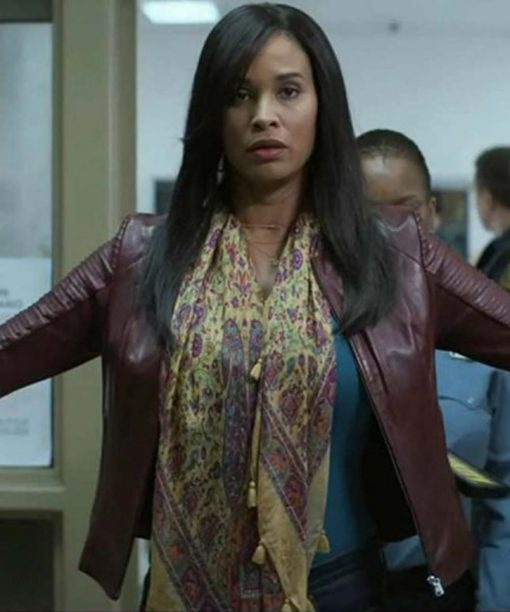 Joy Bryant For Life Marie Wallace Brown Leather Jacket