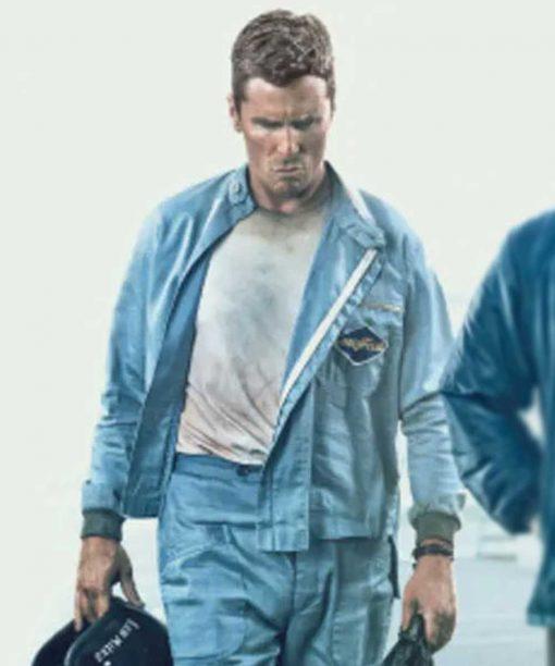 Ford V Ferrari Christian Bale Grey Jacket