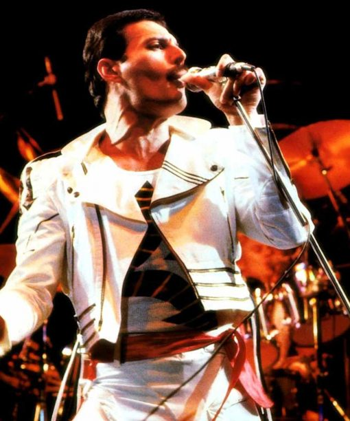 Freddie Mercury Queen Hot Space White Motorcycle Jacket